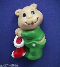 BUY1~GET1@50%~Russ MAGNET Christmas BEAR in PJs w STOCKING Fridge Vtg STICKER