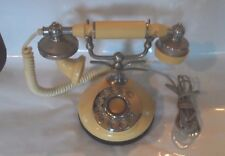VINTAGE FRENCH PRINCESS IVORY BRASS GOLD ROTARY DIAL TELEPHONE