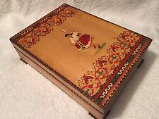 Vintage Dovetail Jewlry Box From Sofia Bulgaria EXCELLENT Solid Wood