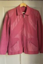 "Faux dusty pink suede jacket with faux snake skin detailing by ""Finesse"" size 10"