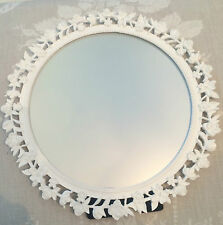 Ornate Round Freestanding White Mirror, Shabby Chic Vintage Style, Gisela Graham