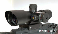 Tactical 2.5-10x 40 illuminé red & green mil-dot rifle scope avec laser rouge