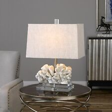 NEW RESIN CORAL STYLE TABLE LAMP THICK CRYSTAL BASE BEACH OCEAN READING LIGHT
