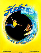 "2.5x3"" Vintage 1970's HOBIE Surfing, skateboard sticker / decal. Surf, laptop"