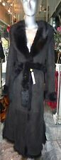 GENUINE Longhair Toscana Shearling Fur Long Coat BLACK Very Small XXXS