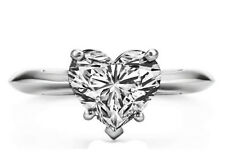 1.00 CT SOLITAIRE Heart DIAMOND VALENTINES GIFT RING Solid 14k White Gold D G 5