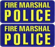 FIRE MARSHAL POLICE  patches  4x10  hook on back  navy bg yellow letters