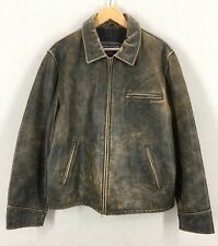 Men's Vintage American Eagle Brown Leather Bomber Motorcycle Jacket Sz Large