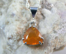 MEXICAN FIRE OPAL - Genuine Faceted Blaze-orange .925 Silver Necklace 1.05ct
