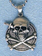 AMERICAN INDIAN SKULL BONES SHIELD PEWTER PENDANT MENS BOYS NECKLACE CHAIN PC500