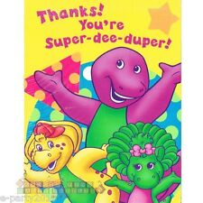 BARNEY Super Dee Duper THANK YOU NOTES (8ct) ~ Birthday Party Supplies Cards