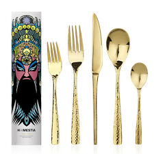5pcs Cutlery Set Gold Hammered Stainless Steel Flatware Western Dinner Table NEW