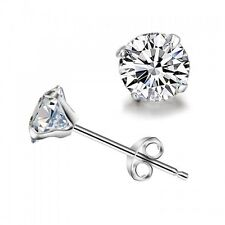 925 Sterling Silver 6MM Brilliant Cut Swarovski Crystal Round Stud Earrings New