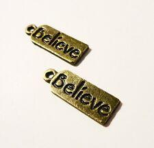 10 Antique Bronze Vintage Believe message charms pendants 20 x 7 x 1mm