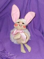 """Annalee Doll 6"""" Easter Bunny with Pink Ribbon and Big Fluffy Tail 2012"""