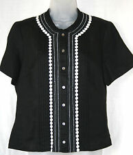 COUNTRY CASUALS (CC) (UK12 / EU40) BLACK/WHITE 100% LINEN SHORT-SLEEVED BLOUSE