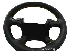 FITS NISSAN ELGRAND E51 02-10 BLACK LEATHER STEERING WHEEL COVER YELLOW STITCH