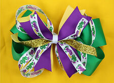 Mardi Gras Hair Bow Green Purple Yellow Pinwheel for Mardi Gras Parade