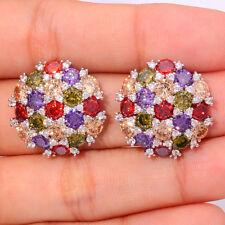 Amethyst Peridot Garnet Morganite Silver Women Jewelry Gems Stud Earrings FH6314
