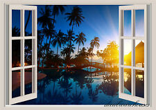 Tropical Paradise Window View Repositionable Color Wall Sticker Wall Mural 3 FT