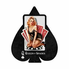 Plasma cut Queen of Spades PICCHE POKER PIN UP TIPO Retrò SIGN IN LAMIERA SCUDO SCUDO
