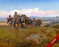 NATIVE AMERICAN INDIAN WARRIORS W HORSES PAINTING ART REAL CANVAS GICLEE PRINT
