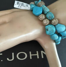 NEW ST JOHN KNIT DESIGNER BRACELET BLUE TOPAZ COLOR STONES CRYSTALS