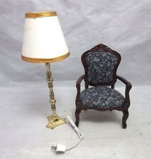 Vtg DOLL HOUSE electric floor lamp & upholstered arm chair