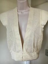 M 10 -12 Vintage Shrug Bolero, Ivory with Gold Metallic Thread, Hand Made   /A16