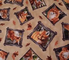 1 yd Out of the Den Hautman for Quilting Treasures Fox Framed Portraits on Tan