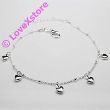 925 Sterling .925 Silver Plated Elegant Heart Chain Anklet Charm Anklets pc