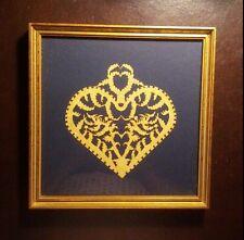 "Scherenschniolk Art Cut Paper Old Salem Collection Heart Design Framed 9"" x 9"""