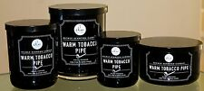 DW HOME WARM TOBACCO PIPE CANDLE SET OF 4 BLACK GLASS BALL JAR & SOY WAX