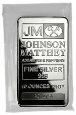 Johnson Matthey Sealed 10 Troy Ounce .999 Fine Silver Bar SKU31858