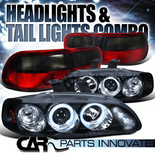 Fit 92-95 Civic 2/4Dr Black Halo LED Projector Headlights+Red Smoke Tail Lamp