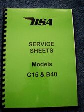 BSA Factory Service Sheets for C15 and B40 1958 to 1973 BW07