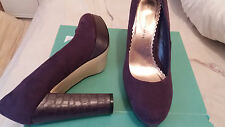 DOROTHY PERKINS PLUM LEATHER HIGH HEELS COURT SHOES SIZE 6 PLATFORM HARDLY WORN