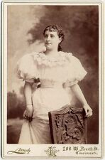 YOUNG LADY IN SEERSUCKER DRESS WITH PUFFY SLEEVES LANDY, CINCI, OH, CABINET CARD