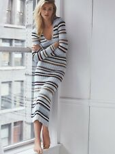 NEW FREE PEOPLE FALLING FALL FOR YOU STRIPED SWEATER V NECK RIBBED MAXI DRESS L
