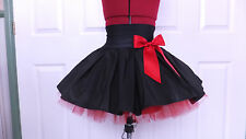 NEW HANDMADE GIRLS BLACK / RED TUTU MINI SKIRT IRISH DANCE SCHOOL 10 - 12 YRS