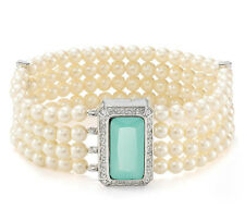 CAROLEE 'Color Pop' Silver-Tone Mint Stone Four-Row Glass Pearl Bracelet $65