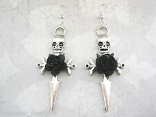LARGE SKULL CROSS SWORD Black Rose Earrings Punk Rock HALLOWEEN Gothic Dagger