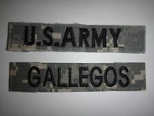 2 US Army ACU Pocket Patches: U.S. ARMY + GALLEGOS Name Tape