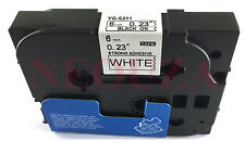 Black on White Label Tape Compatible for Brother TZ TZe S211 211 TzeS211 Tze211