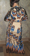 Paganne RARE Vintage 70s ART DECO GRAPHIC Print SIGNED Nylon DRESS SMALL