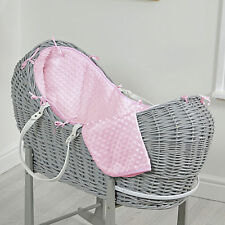 NEW 4BABY PINK DIMPLE GREY WICKER BABY MOSES BASKET / NOAH POD & MATTRESS