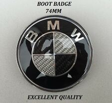 BMW Boot Badge 74mm Carbon Fibre Emblem Logo 1 3 4 5 Series - UK SELLER -
