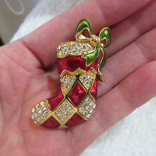 VINTAGE Signed MONET Christmas STOCKING PIN Enamel Rhinestone RED Green Bow WOW!