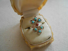 Southwest Sterling Silver Turquoise Coral Petit Point Ring  291403