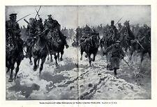 Deutsche Kavallerie-Attacke gegen Russen im Kampf um Warschau * antique print